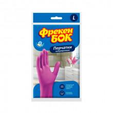 Перчатки резиновые Фрекен Бок универсальные крепкие розовые L