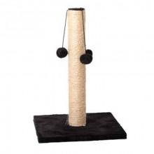 Когтеточка столбик на подставке квадрат меховой сизаль с тремя меховыми шариками 45*30 см FOX S820-3