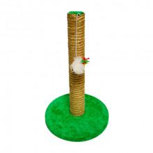 Когтеточка столбик джуто-хлопковая на подставке круглая с мышкой 30*45 см FOX S701-1