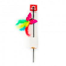 Игрушка для кошек Удочка дразнилка бабочка однотонная с пухом FOX СН-018
