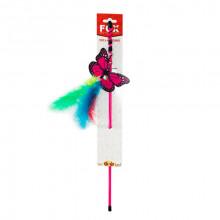 Игрушка для кошек Удочка дразнилка бабочка с перьями FOX СН-015