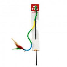 Игрушка для кошек Удочка дразнилка бусы с перьями FOX СН-050
