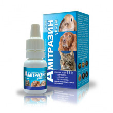 Амитразин Ультра 10 мл капли ушные для кошек и собак Якісна допомога O,L,KAR - КАПЛИ УШНЫЕ  И ЛОСЬОНЫ