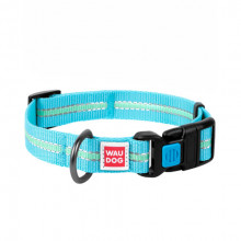 Ошейник WAUDOG Nylon светонакопительный голубой 25ммх35-58см COLLAR 45652