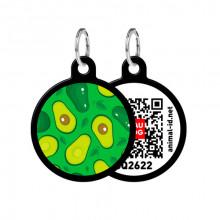 Адресник WAUDOG Smart ID с QR-паспортом Авокадо круг диаметр 30 мм черный 0630-0048-01