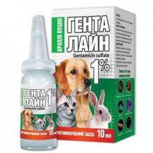 Генталайн 1% 10 мл капли ушные для кошек и собак Якісна допомога O,L,KAR