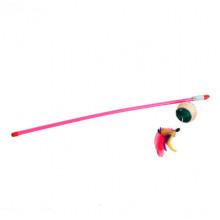 Удочка-дразнилка шар веревочный с перьями В028