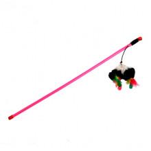 Удочка-дразнилка мышь пушистая с перьями В138