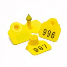 Бирка ушная  номерная 27*27 двойная жёлтая №100 3055