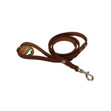 Поводок ремень кожа + заплет строченный 16 мм Franty 164105/2 коричневый