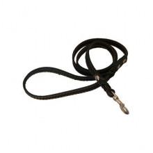 Поводок ремень кожа + заплет строченный 20 мм Franty 204105/1 черный