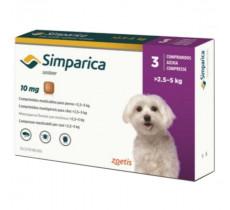 Симпарика  10 мг  3 таблетки  для собак 2,5-5 кг инсектоакарицидные