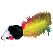 Игрушка для кошек Мышь погремушка с пером FOX SH07