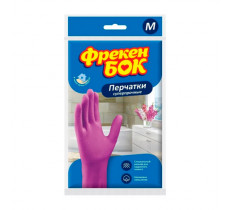 Перчатки резиновые Фрекен Бок универсальные крепкие розовые M