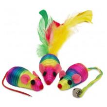 Набор игрушек для кошки 4 разноцветных мышки  XW5035 - ИГРУШКИ