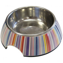 Миска для корма собакам цветная нержавейка с серебряными полосами 135 мм 350 мл 216
