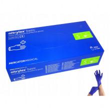 Перчатки смотровые нитриловые не припудренные не стерильные  S 100 пар синие Nitrilex basic Малайзия