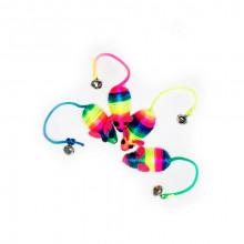 Игрушка для кошек Мышь нейлоновая радужная с бубенчиком 5см FOX NT528