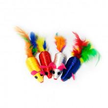 Игрушка для кошек Мышь нейлоновая цветная с пером 6 см FOX NT662