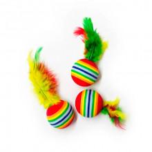 Игрушка для кошек Шар радужный с перьями 4 см FOX NT573
