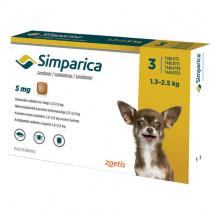 Симпарика  5 мг  3 таблетки  для собак 1,3 - 2,5 кг инсектоакарицидные - ИНСЕКТОАКАРИЦИДНЫЕ ТАБЛЕТКИ