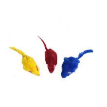 Набор игрушек для кошки 3 меховых двухцветных мыши 144 FOX  XW0064