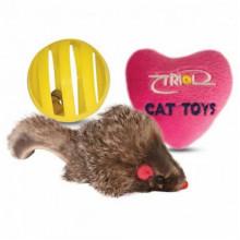 Набор игрушек для кошки мышь, шар, сердечко 144XW0075