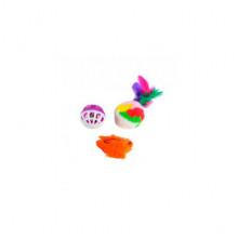 Набор игрушек для кошки мышь, меховой шар с пером, шар-погремушка XW0313