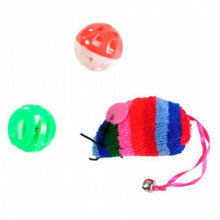 Набор игрушек для кошки цветная мышь, 2 мячика-погремушки XW0338