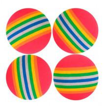 Набор игрушек для кошки 4 радужных мячика погремушки XW405
