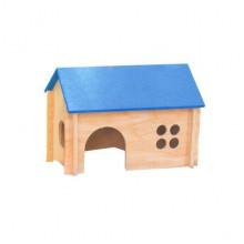 Домик для морской свинки деревянное покатая цветная крыша  ЛР-Д016