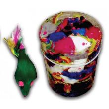 Игрушка для кошек Мышь пушистая двухцветная с разноцветная пером 5 см FOX NT685