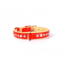 Ошейник Collar Brilliance со стразами большими 38-49 см 25 мм красный 38793