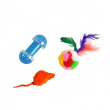 Набор игрушек для кошки мышь, меховой мяч, гантель  XW0311