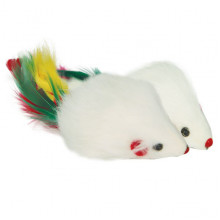 Игрушка для кошек мышь 3,5 погремушка с пером SH02