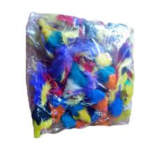Игрушка для кошек мышь 2 погремушка с пером разноцветные SH03 - ИГРУШКИ