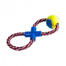 Игрушка для собак Канат-грейфер восьмерка с теннис мячом 28 см FOX XJ0132