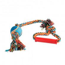 Игрушка для собак Канат-грейфер для бросания с пластиковои ручкой и теннис мячом 50 см FOX XJ0149