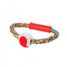 Игрушка для собак Канат-грейфер круг с теннисным мячем 18 см FOX XJ0124