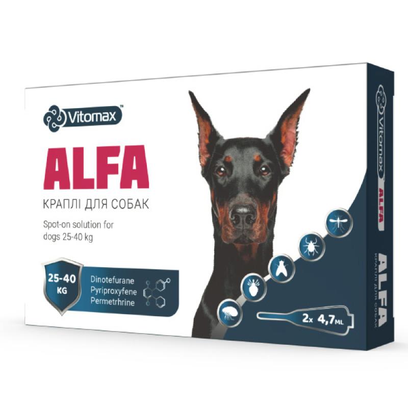 Капли от блох и клещей АЛЬФА для собак 25 – 40 кг 4,7 мл*2 Vitomax