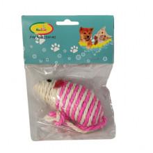 Игрушка для кошек Сизалевая мышка  10 см, пакет, CAT701