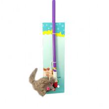 Игрушка для кошек Удочка 47 см с двухцветной мышкой, 006С