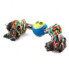 Игрушка для собак канат грейфер 2 узла с мячом 9 12 28 см Д 6см - ИГРУШКИ