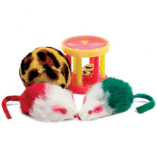 Набор игрушек для кошки 2 мыши, меховой шар, барабан  144XW0046