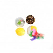Набор игрушек для кошки 3 меховых шара моток  144XW0074