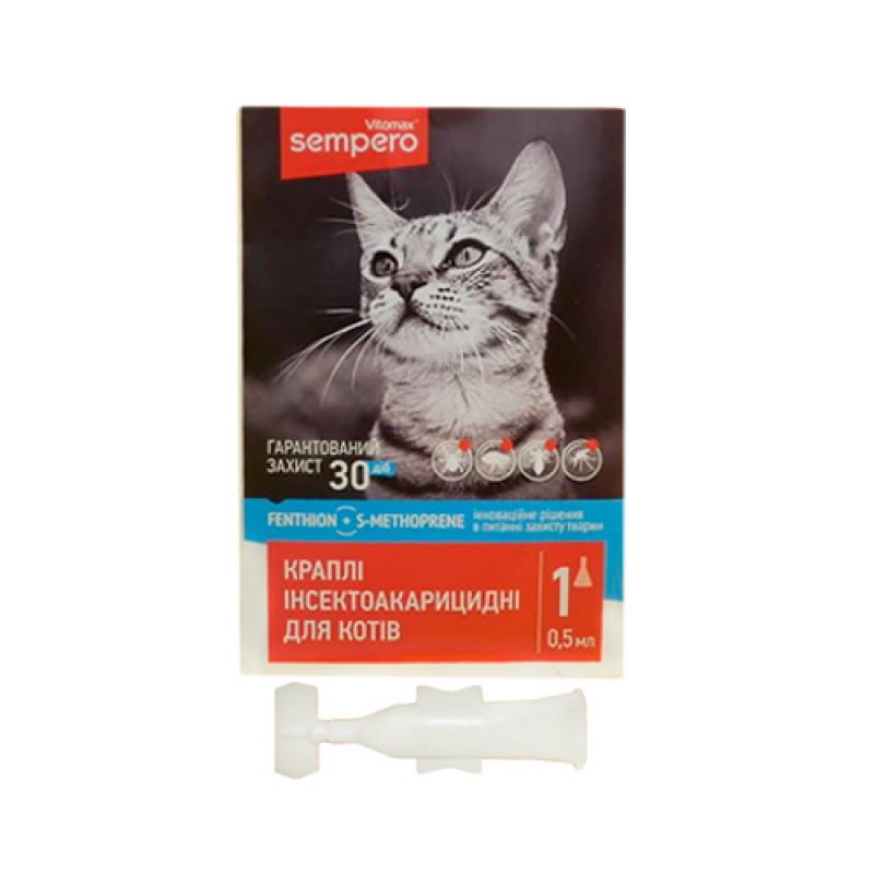 Семперо Sempero кали от блох и клещей для котов от 2-х кг 0,5 мл Vitomax  400052