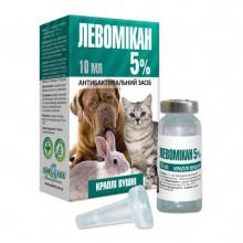 Левомикан капли ушные 5% для кошек и собак 10 мл  Якісна допомога O.L.KAR